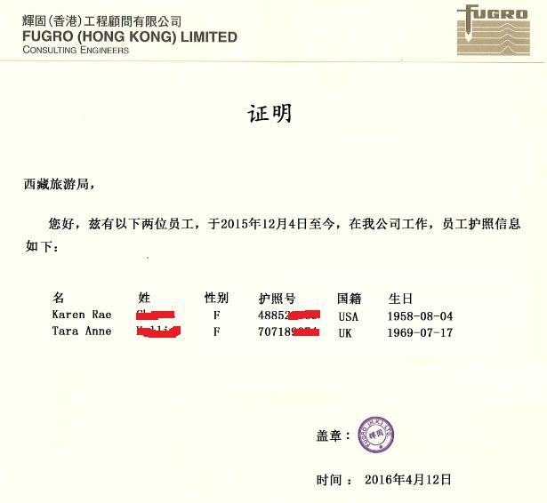 Company Document & School Document for Tibet Travel