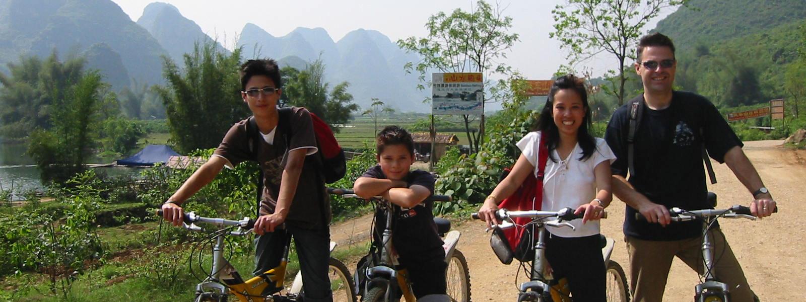 Cycling through beautiful scenery of China